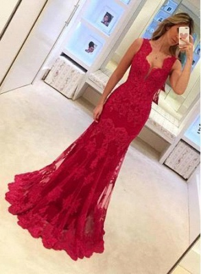 Lace Red Sexy Mermaid Long Sleeveless Elegant Evening Dresses_2