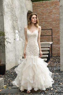 Gorgeous Floor Length Tulle Appliques Mermaid Wedding Dress_1