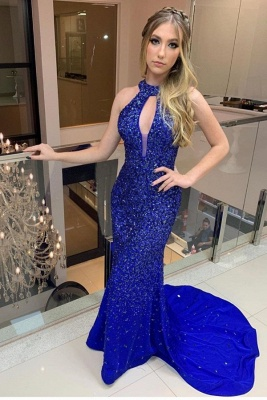Sweep Train Keyhole High Neck Open Back Beaded Fitted Prom Dresses_1