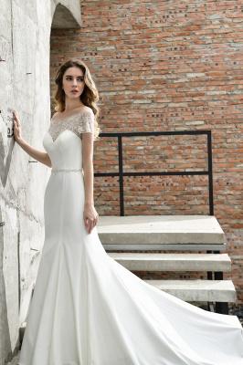 Cheap Short Sleeveless Lace Mermaid White wedding dresses_3