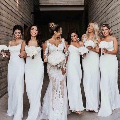 Floor Length Spaghetti Straps Elegant White Bridesmaid Dresses | Gorgeous Wedding Guest Dresses_4