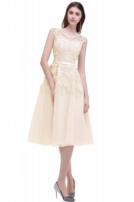 EMORY | Crew Tea Length Lace A-Line Appliques Short Prom Dresses_9