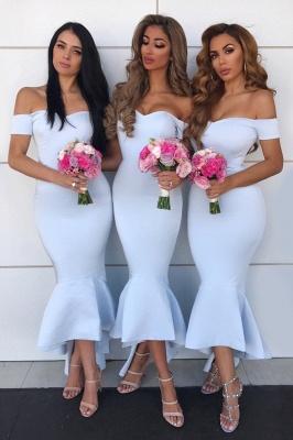 Tea Length Off the Shoulder Mermaid Bridesmaid Dresses | Affordable Maid of Honor Dresses_2
