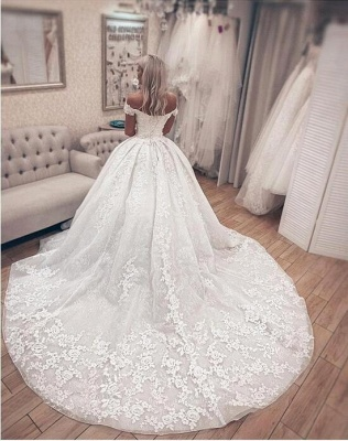 Off the Shoulder Lace Ball Gown Wedding Dresses with Lace-up Back_2