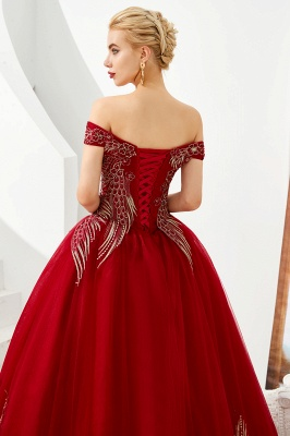 Glamorous Off the Shoulder Sweetheart Applique A-line Floor Length Prom Dresses_8