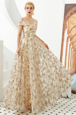 Glamorous Cold-Sleeves A-line Long Lace Prom Dresses |  Floor Length Evening Dresses_2