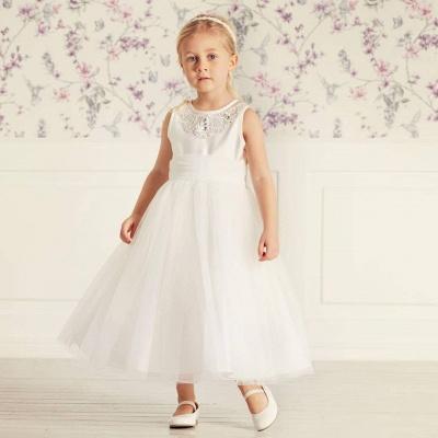 Simple Jewel Sleeveless Beaded Tulle Flower Girl Dresses | Wedding Dress for Girls_4