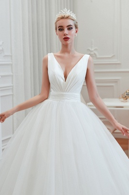 Elegant Floor Length V-neck Straps Belted A-line Tulle Wedding Dresses_10