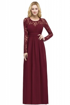 Cheap A-line Floor Length Long Sleeves Lace Chiffon Bridesmaid Dress in Stock_1
