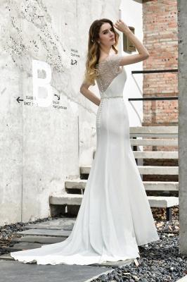 Cheap Short Sleeveless Lace Mermaid White wedding dresses_10