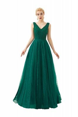 Gorgeous Straps V-neck A-line Long Prom Dresses | Jade Floor Length Evening Dresses_3