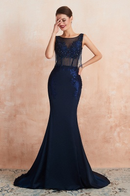 Bateau Backless Beaded Sexy Long Mermaid Prom Dresses | Glamorous Floor Length Evening Dresses_7