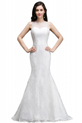 Mermaid Sweep Train Lace New Arrival Wedding Dresses with Buttons_2