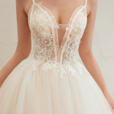 Gorgeous Spaghetti Straps V-neck Floor Length A-line Lace Tulle Wedding Dresses_19