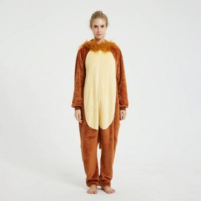 Cute Animal Pyjamas for Women Lion Onesies, Brown_1
