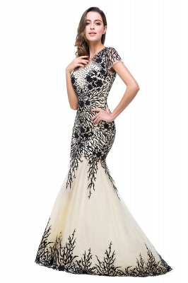 Elegant  Mermaid Short-Sleeves Appliques Prom Dress with Zipper_3