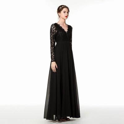 V-neck Long Sleeves Floor Length Lace Prom Dresses | Long Black Evening Dresses_3