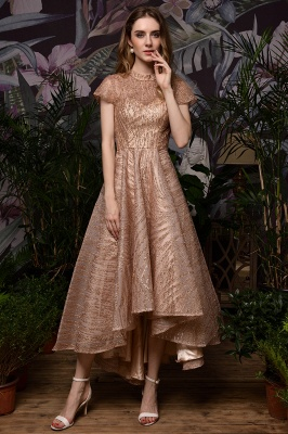 Champagne High Neck Short Sleeve Sequined A Line Prom Dress | Tea Length Ruffles Evening Gown_9