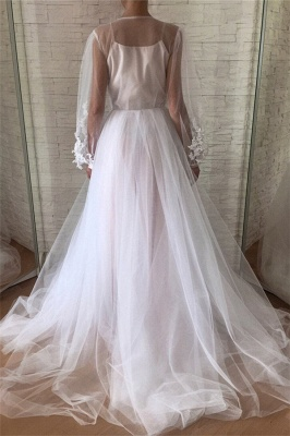 Jewel See Through Tulle Appliques Lace Prom Dresses | Long Evening Dresses with Sleeves_2