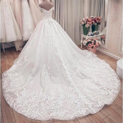 Off the Shoulder Lace Ball Gown Wedding Dresses with Lace-up Back_5