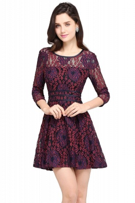 Cheap Lace Sleeves Jewel Short Cheap Evening Dress in Stock_1
