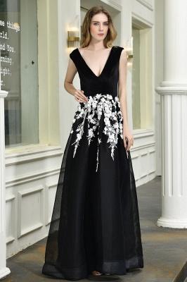 Black Straps Deep V neck A Line Prom Dresses | Applique Lace Corset Back Evening Dresses_2