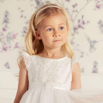 Jewel Cap Sleeves Tea Length Ribbon Belt Lace Tulle Flower Girl Dresses_3