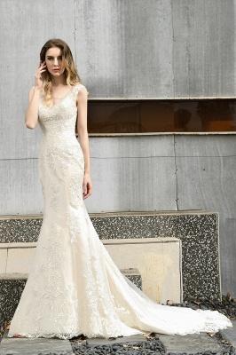 Glamorous Floor Length Open Back Mermaid Lace Wedding Dresses_9
