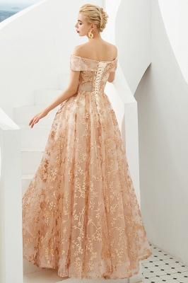 Gorgeous Off the Shoulder A-line Floor Length Lace Prom Dresses | Long Evening Dresses Cheap_7