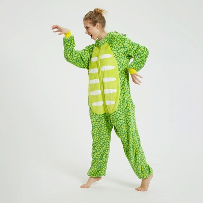 Cute Animal Pyjamas for Women Triceratops Onesie, Green_14