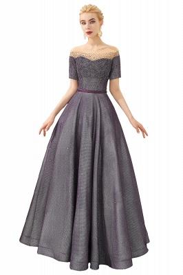 Glamorous Round Neckline Short Sleeves Beaded Belt A-line Floor Length Prom Dresses_1