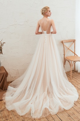 Round Neckline Sleeveless A-line Lace Up Sweep Train Lace Appliques Wedding Dresses_16