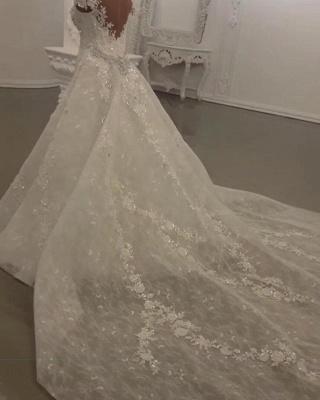 Luxury Sheer Jewel Cap Sleeve Applique Beading Mermaid Wedding Dresses With Detachable Skirt_5