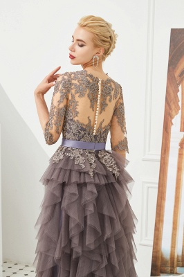 Elegant Jewel Half Sleeves Ribbon Belt A-line Lace Tulle Prom Dresses_8