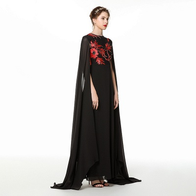 Black Jewel Floor Length Watteau Train Chiffon Prom Dresses | Long Evening Dresses Online_3