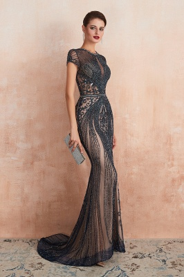 Cap Sleeves Keyhole Jewel Gorgeous Beaded Long Prom Dresses | Elegant Long Evening Dresses_16