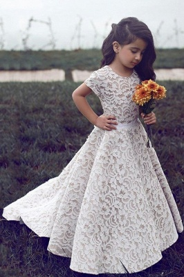 Gorgeous Jewel Short Sleeves Ribbon Belt A-line Lace Flower Girl Dresses_1
