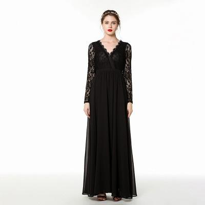 V-neck Long Sleeves Floor Length Lace Prom Dresses | Long Black Evening Dresses_4