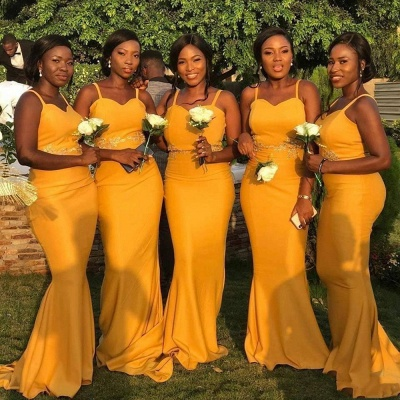 Spaghetti Straps Long Sexy Fitted Bridesmaid Dresses   Elegant Wedding Guest Dresses_3