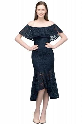 Mermaid Off-shoulder Tea Length Black Lace Prom Dresses_1