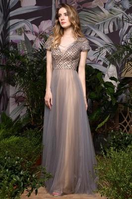 Elegant Short Sleeve Beading Floor Length a line prom dresses  Scaoop cheap graduation dress_6