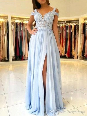 Elegant Cold Sleeves Appliques Chiffon Sky Blue Prom Dresses with Side Slit_1