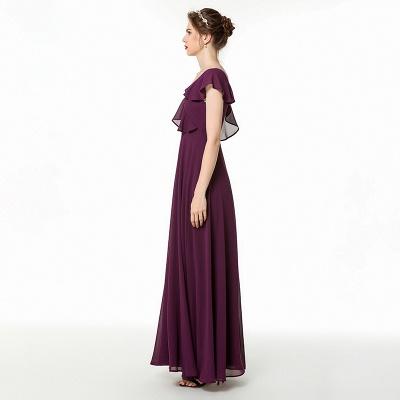Cold-Shoulder Floor Length Chiffon Flounce Prom Dresses | Long Cheap Evening Dresses_3