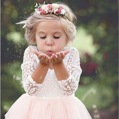 Cute Long Sleeves Jewel Tea Length Lace Tulle Flower Girl Dresses_3