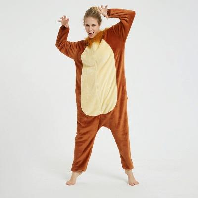 Cute Animal Pyjamas for Women Lion Onesies, Brown_6