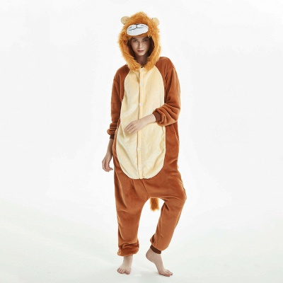 Super Soft Adult Lion Brown Onesies Pajamas for Girls_1