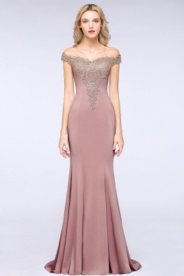 Simple Off the Shoulder Appliques Fitted Floor Length Evening Gown_21