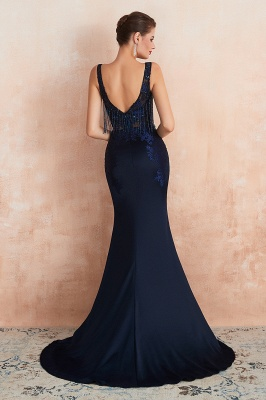 Bateau Backless Beaded Sexy Long Mermaid Prom Dresses | Glamorous Floor Length Evening Dresses_4