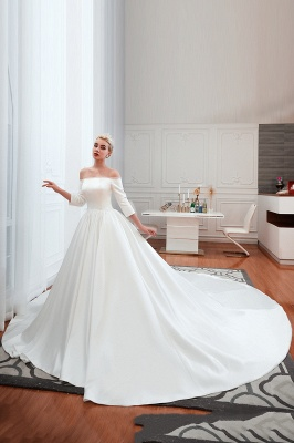 Gorgeous Off the Shoulder Half Sleeves Floor Length A-line Satin Wedding Dresses_2