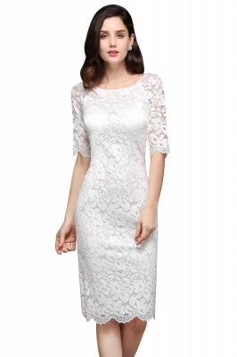 Lace Jewel Short Ivory Fashion Knee-length Sleeve Evening Dress_1